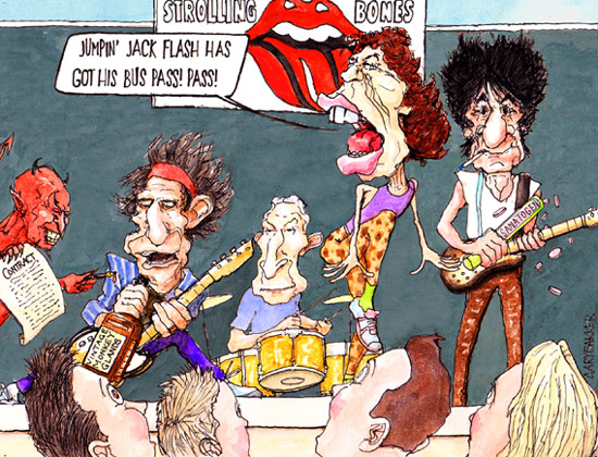The Strolling Bones at Glastonbury - Daily Star on Sunday cartoon